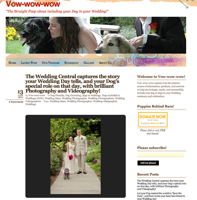 Vow Wow Wow Wedding Blog - Dogs and Weddings
