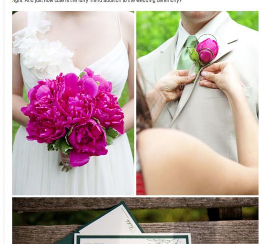 Green hot pink peonies spring wedding