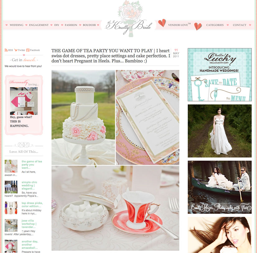 Tea Party Styled Wedding Photos Published in the The Knotty Bride