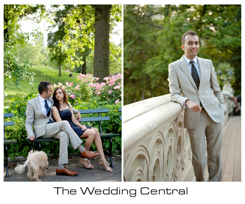 New York Engagement Photographer - Couple sitting at Central Park - Groom Photo
