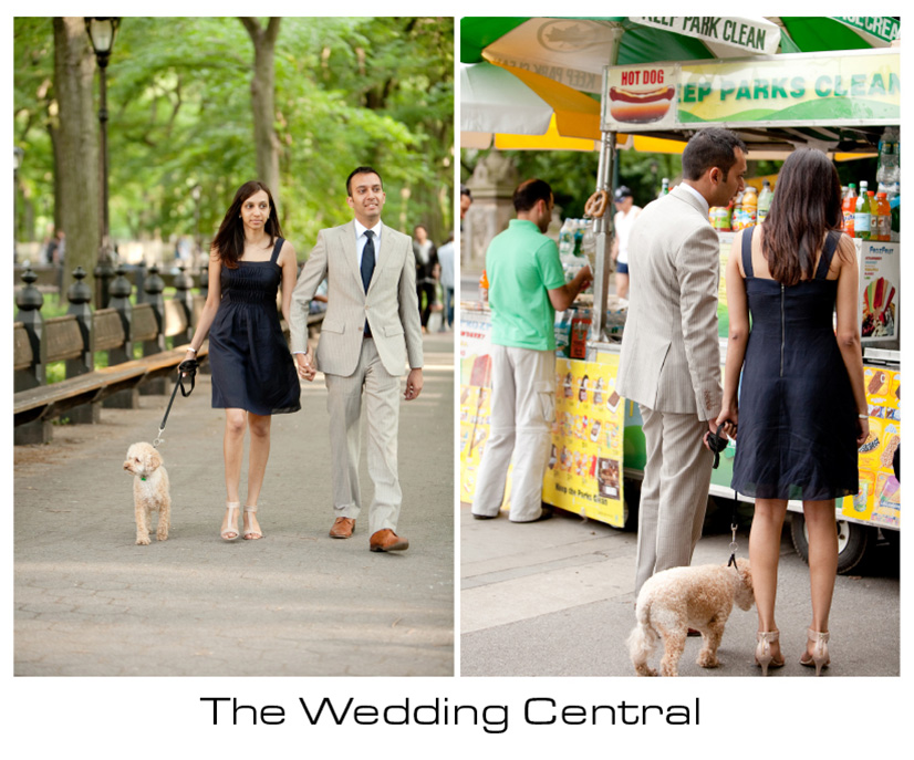 NYC Engagement Photographer - Couple walking at the park with dog buying ice cream