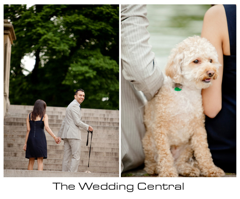 NYC Wedding Photographer - couple walking with dog